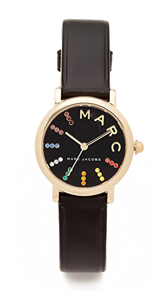 Marc Jacobs Small Roxy Leather Watch In Gold/Black Multi