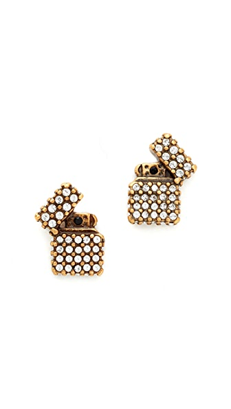 Marc Jacobs Strass Lighter Stud Earrings