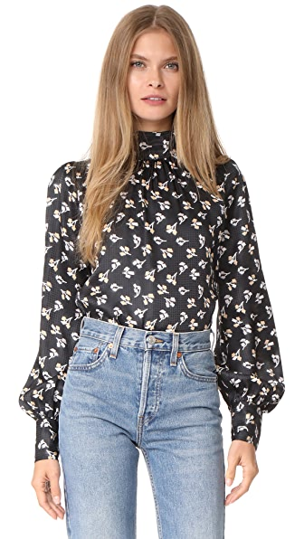 Marc Jacobs Bishop Sleeve Blouse - Black Multi