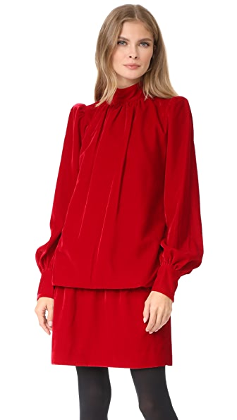 Marc Jacobs Velvet Bishop Sleeve Dress - Red