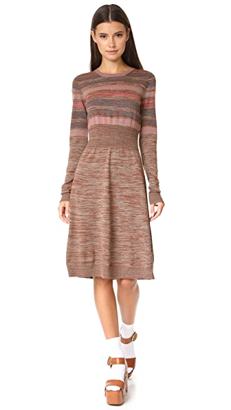 Marc Jacobs Multi Stripe Sweater Dress - Taupe Multi