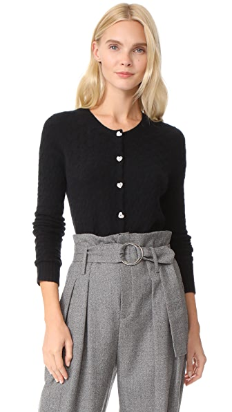 Marc Jacobs Cashmere Crew Neck Cardigan - Black