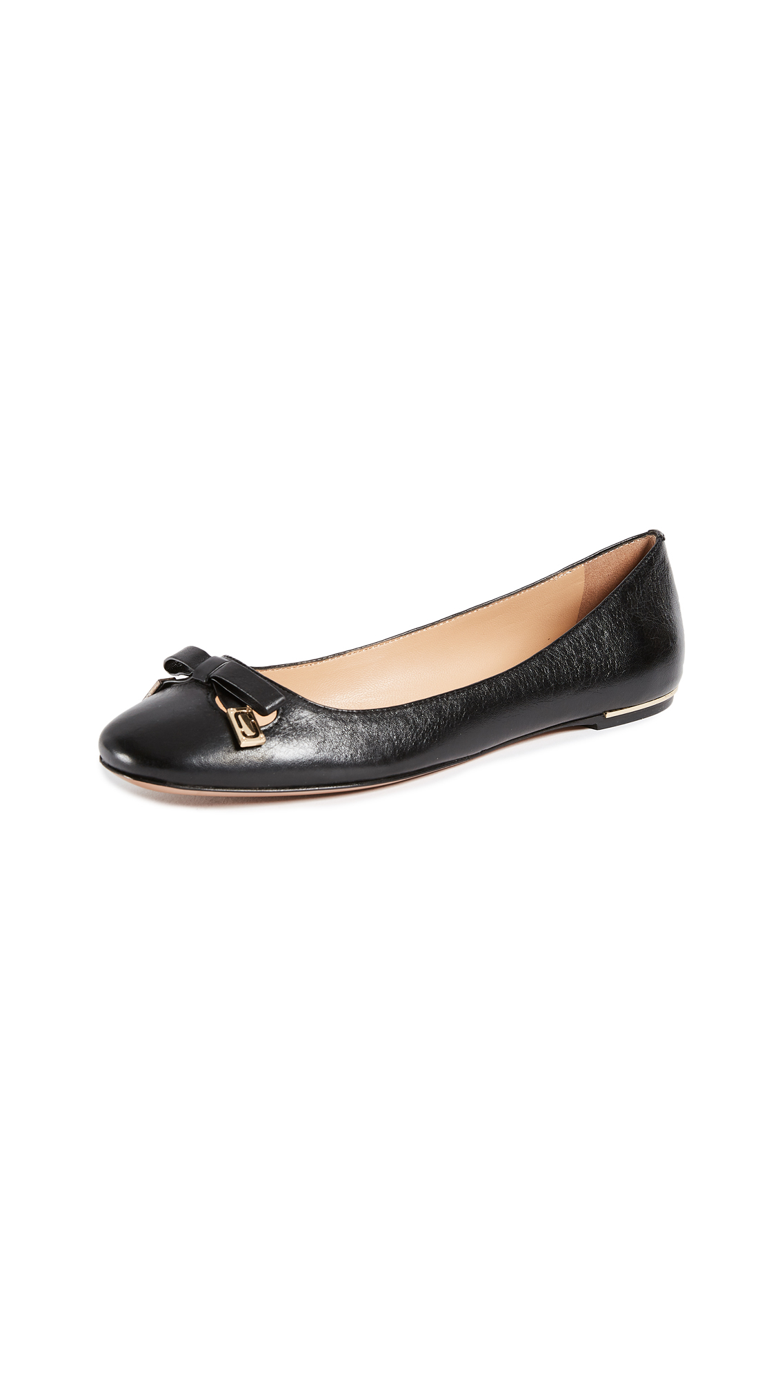 Marc Jacobs Sophie Round Toe Status Ballerina Flats - Black