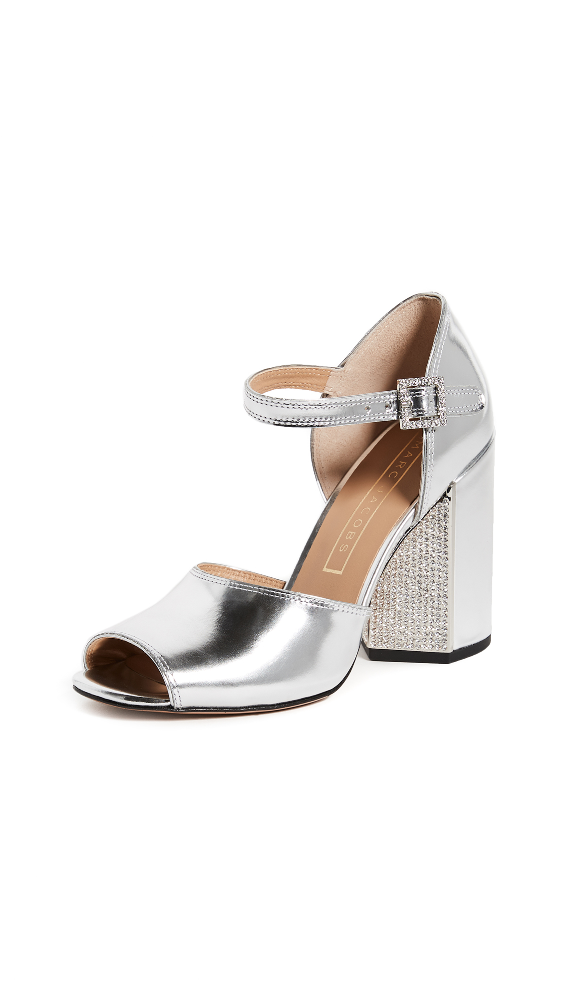 Marc Jacobs Kasia Strass Sandals - Silver