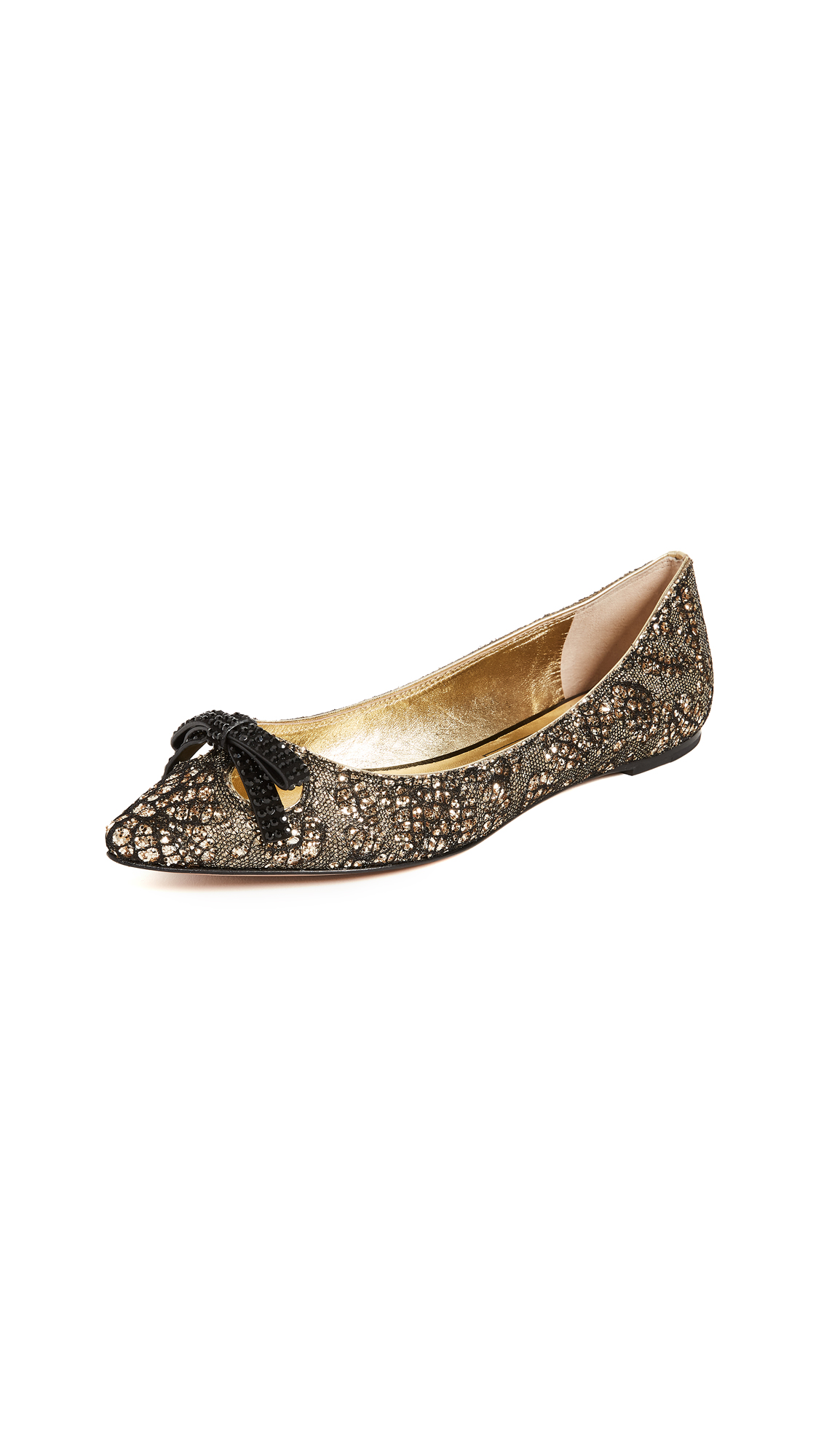 Marc Jacobs Jaime Pointy Toe Flats - Gold