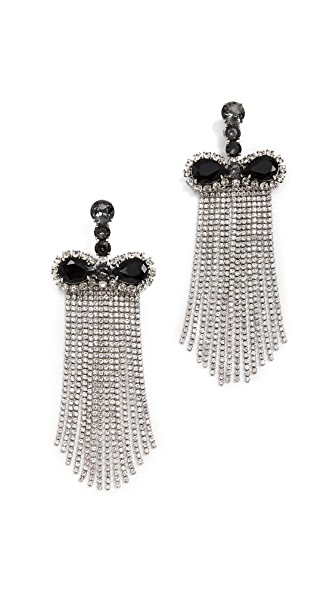 Marc Jacobs Crystal Waterfall Earrings In Black/Clear