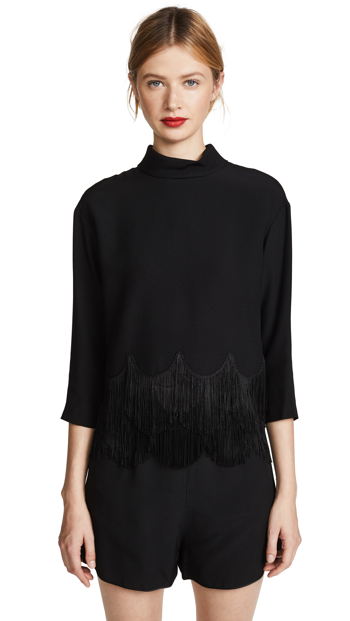 Marc Jacobs Button Down Fringe Top In Black