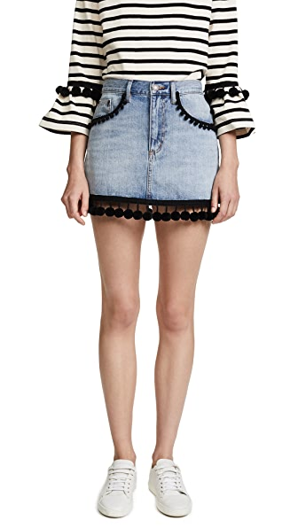 Marc Jacobs Denim Miniskirt with Pom Pom Embroidery In Vintage Indigo