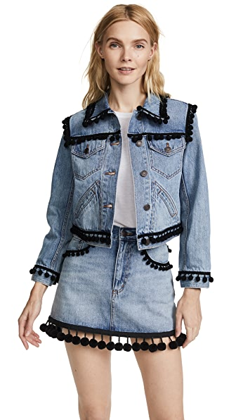 Marc Jacobs Shrunken Jean Jacket with Pom Poms at Shopbop