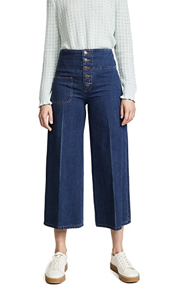 Marc Jacobs Wide Leg Jeans In Indigo