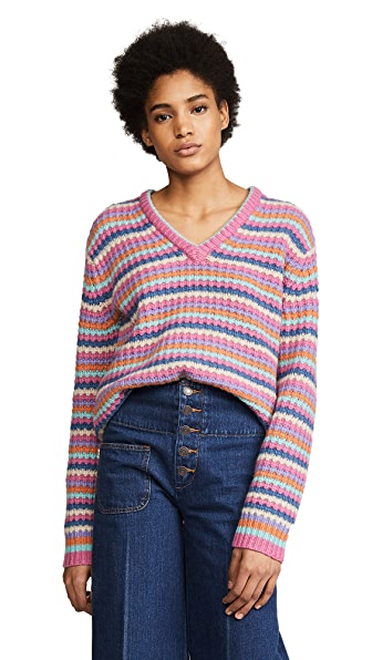 Marc Jacobs Long Sleeve V Neck Sweater In Pink Multi