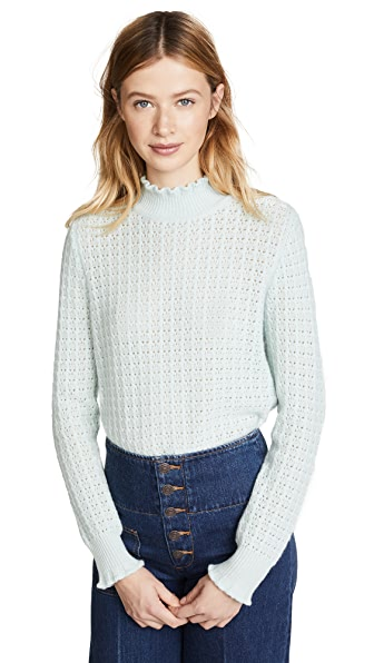 Marc Jacobs Long Sleeve Mock Neck Cashmere Sweater In Pale Green