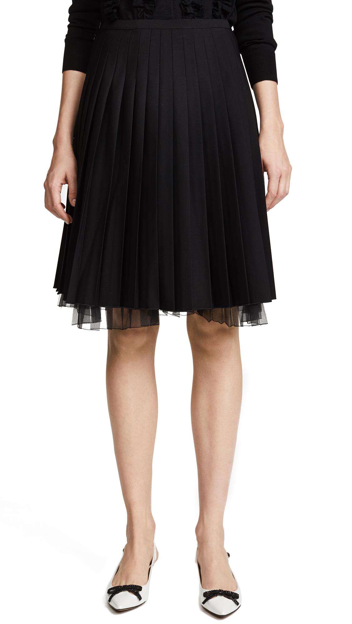 Marc Jacobs Pleated Wool Skirt - Black