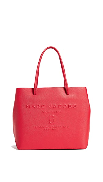 Marc Jacobs Logo Shopper Tote In Red Pepper