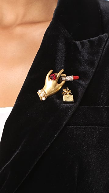 Marc Jacobs Hand with Lipstick Big Brooch