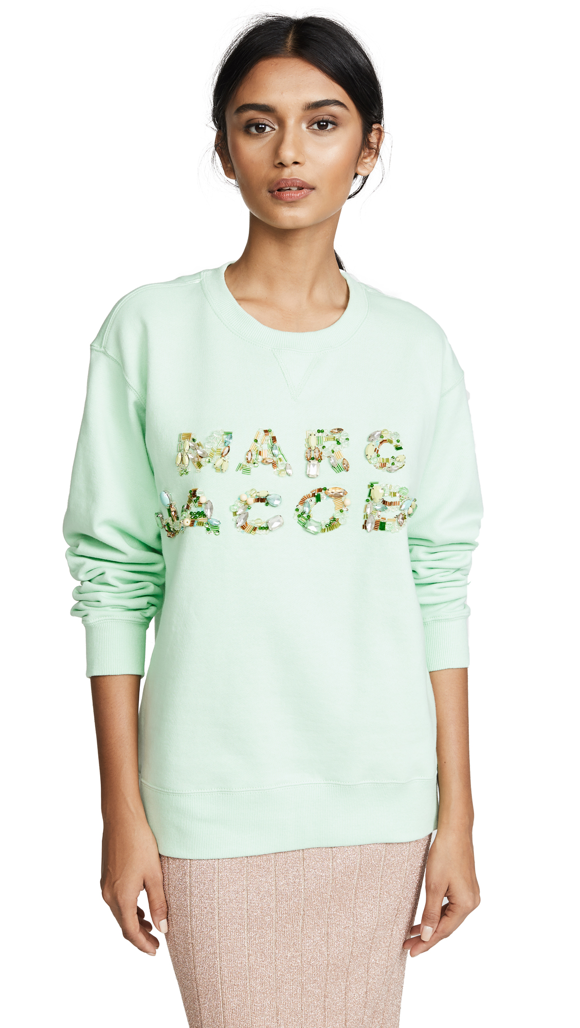 Marc Jacobs Luxe Embellished Sweatshirt In Pale Green