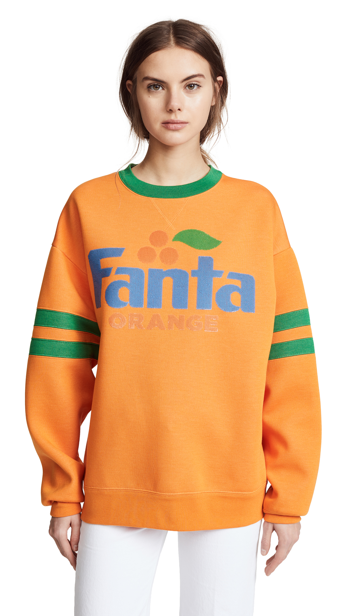 Marc Jacobs Fanta Sweatshirt with Long Sleeves & Crew Neckline In Orange Multi