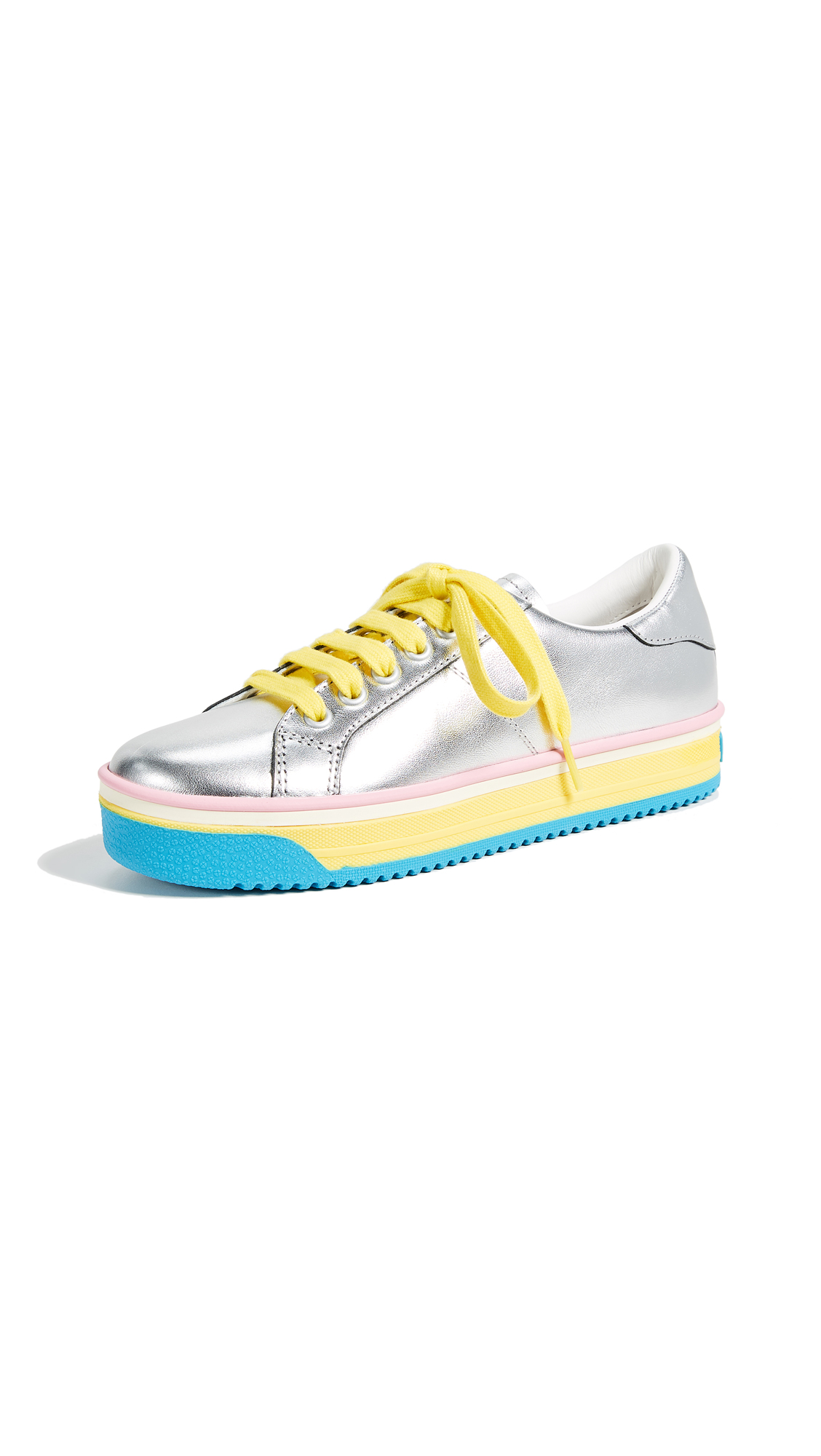Marc Jacobs Empire Multi Color Sole Sneakers - Silver/Yellow Multi