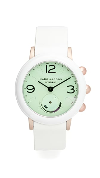 Marc Jacobs Riley Hybrid Tech Watch In White/Rose