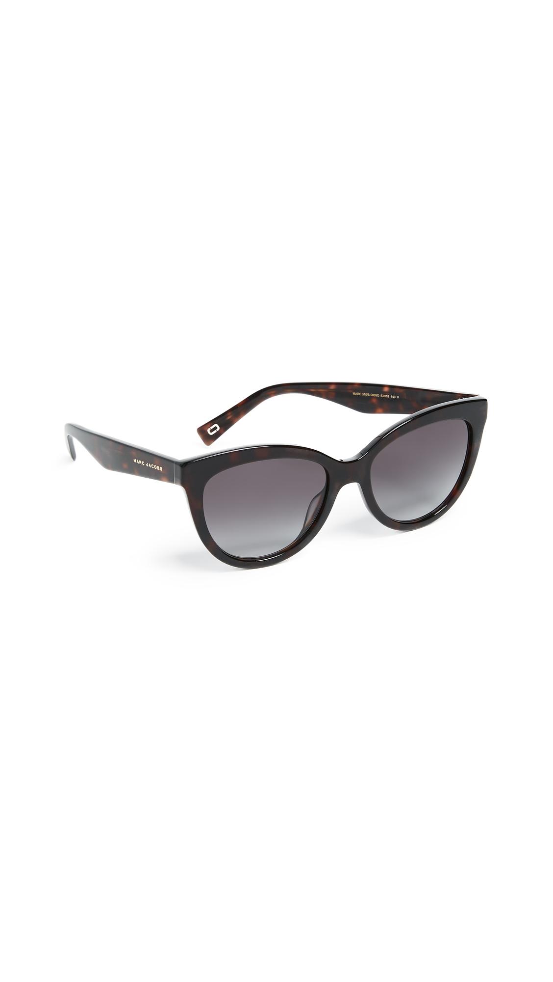 Marc Jacobs Round Slight Cat Eye Sunglasses - Dark Havana/Dark Grey Gradient