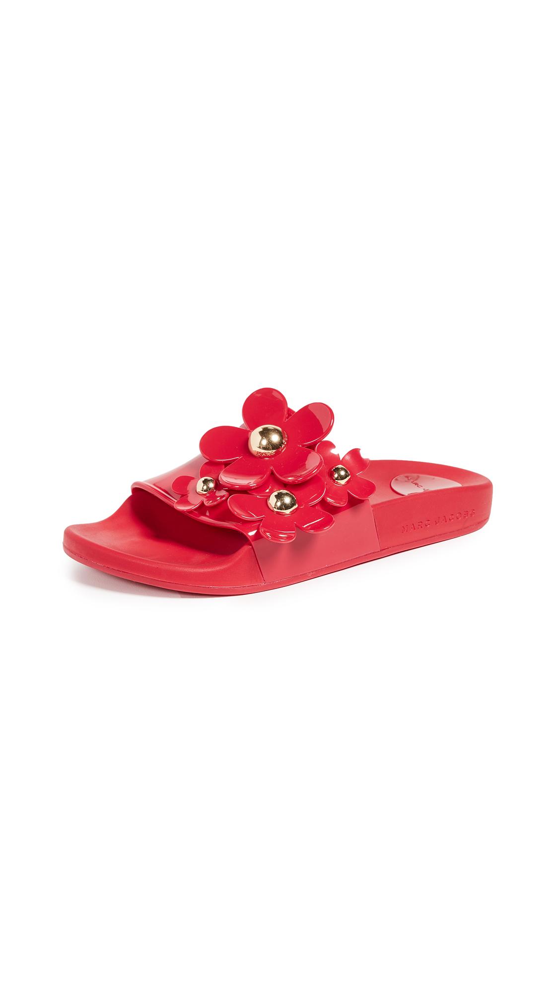Marc Jacobs Daisy Aqua Slides - Red