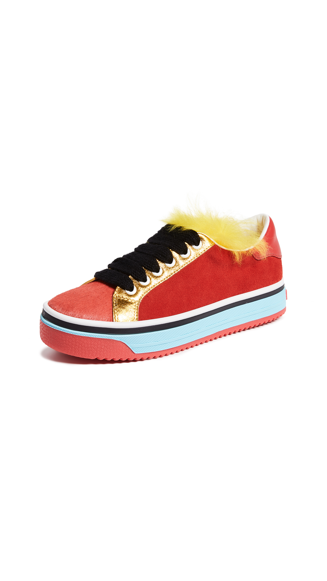 Marc Jacobs Love Empire Fur Sneakers - Red Multi