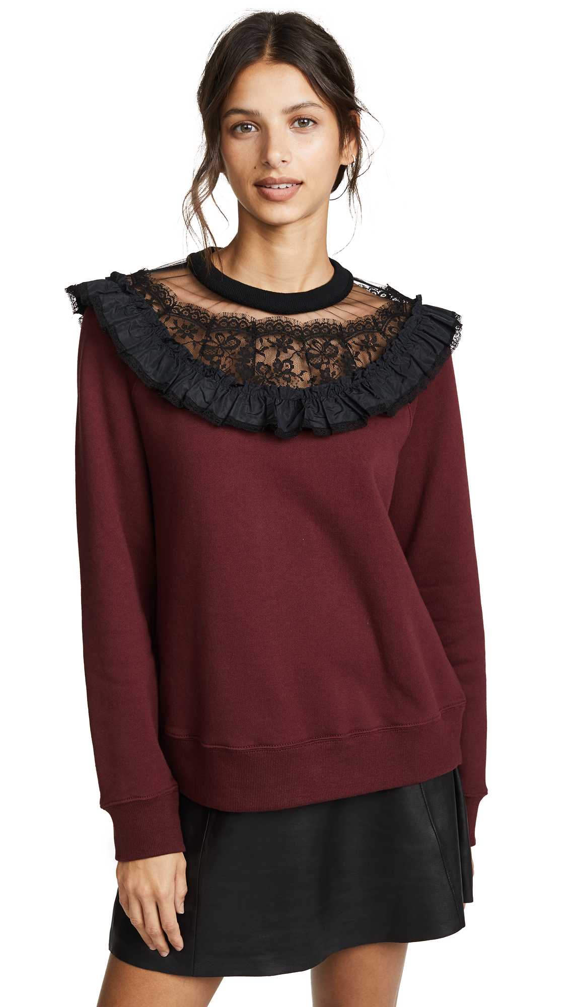 Marc Jacobs Ruffle Sweatshirt with Lace In Burgundy