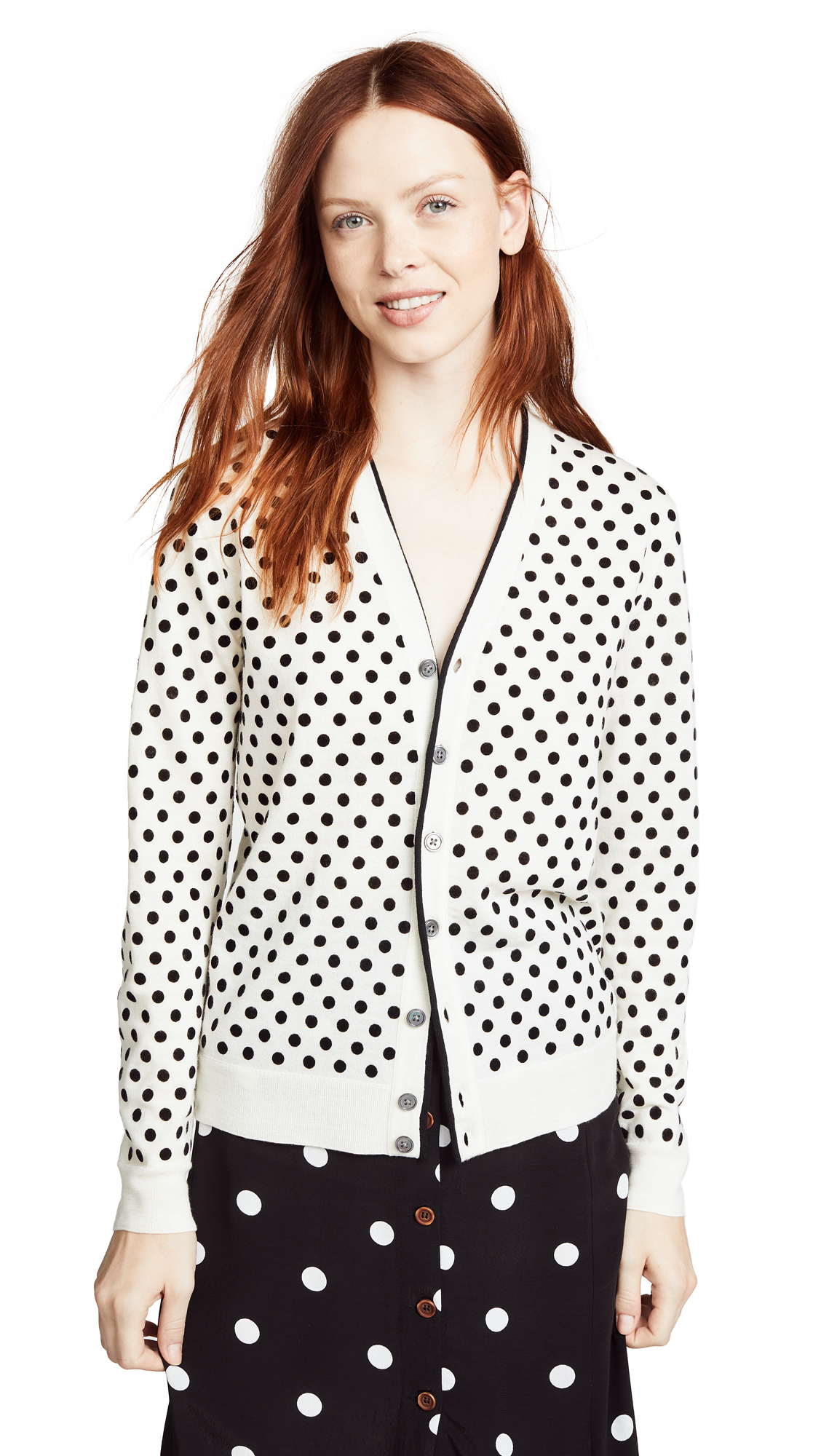 Marc Jacobs Polka Dot Cardigan In Ivory