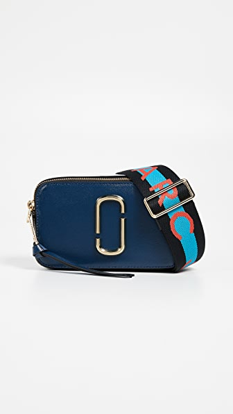 Marc Jacobs Snapshot Small Leather Crossbody Bag In Blue Sea Multi