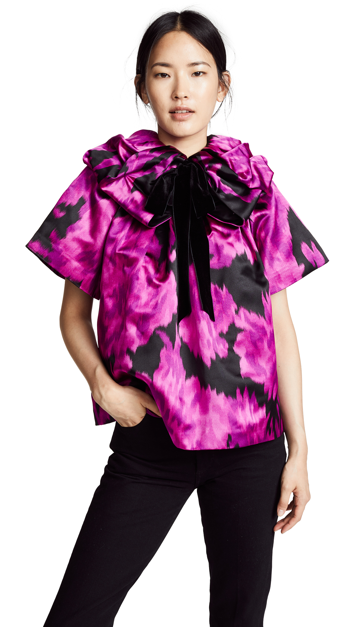 Marc Jacobs Blouse with Rosette Collar In Fuschia