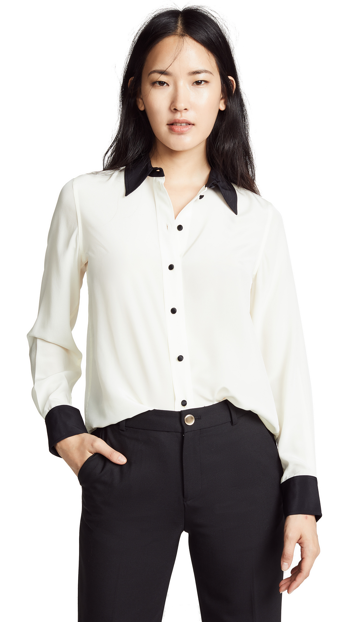 Marc Jacobs Solid Silk Button Down Top In Ivory