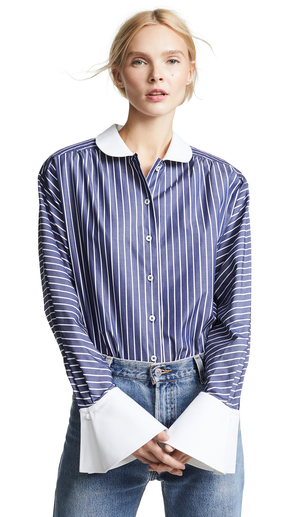 Marc Jacobs Stripe Button Down with Cuffs In Navy/White