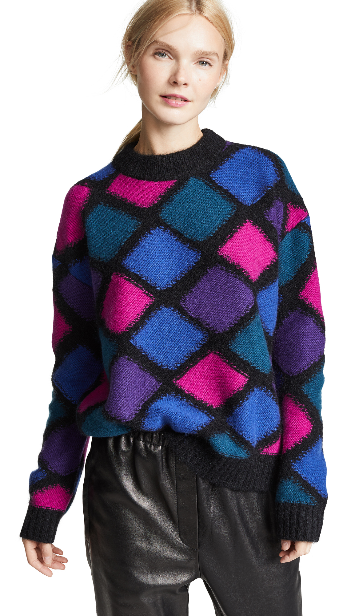 Marc Jacobs Mock Neck Cashmere Sweater In Black Multi