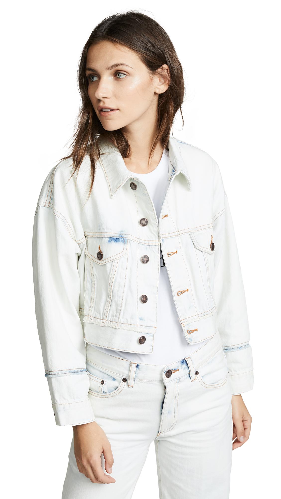 Marc Jacobs Oversized Cropped Denim Jacket In Bleach Indigo