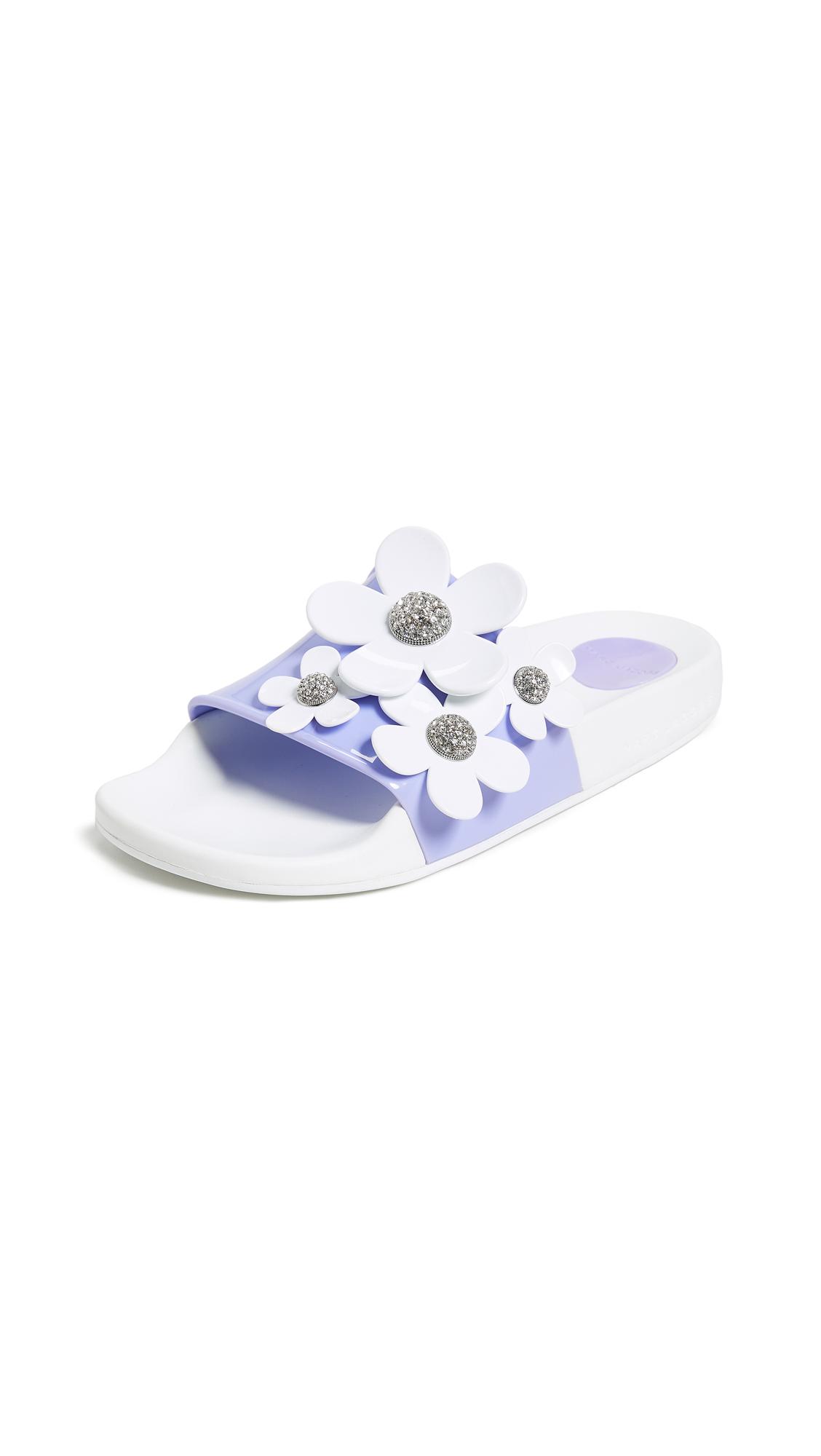 Marc Jacobs Daisy Pave Aqua Slide Sandals - Lavender Multi