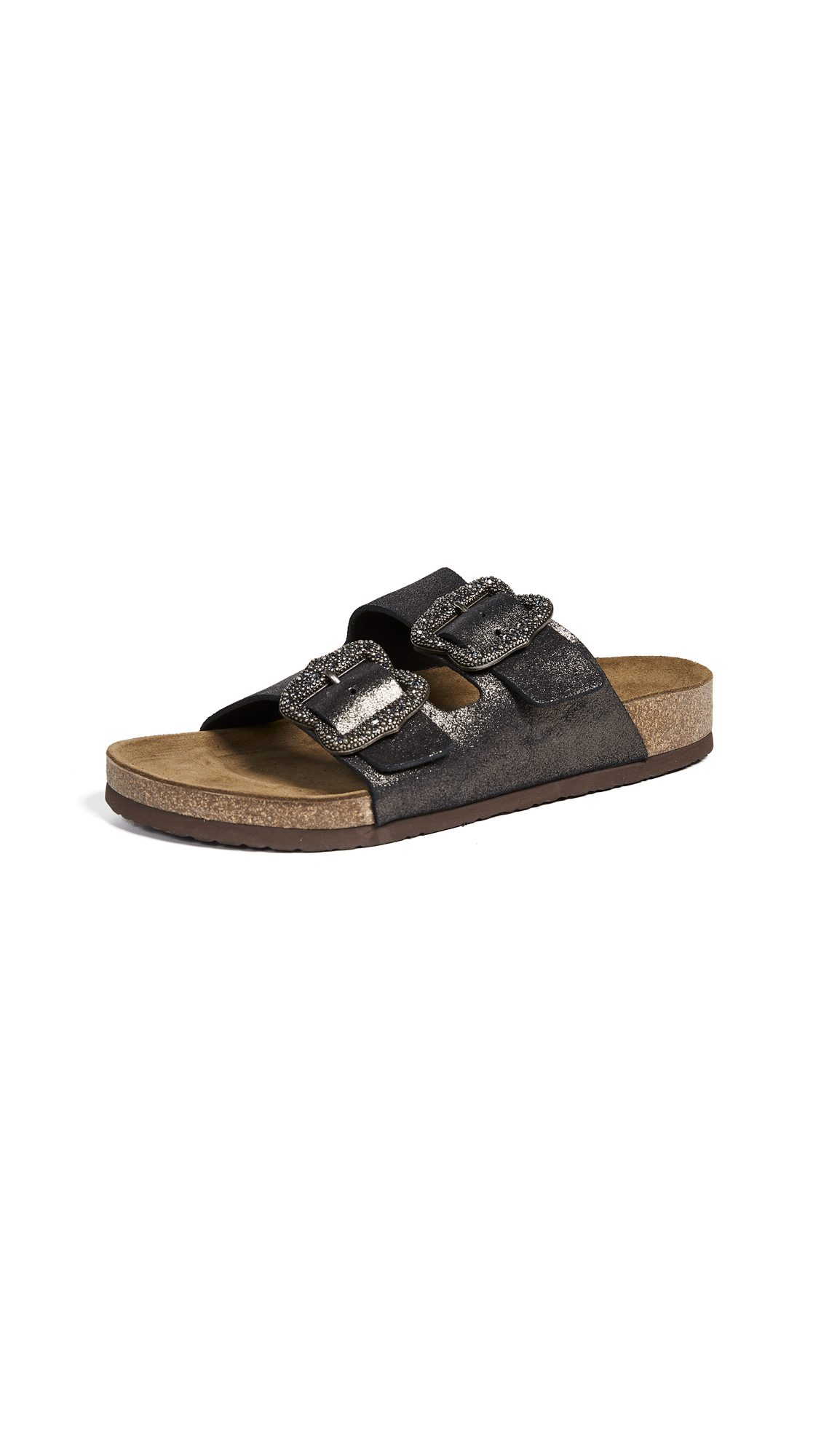 Marc Jacobs Grunge Two Strap Sandals - Dark Silver