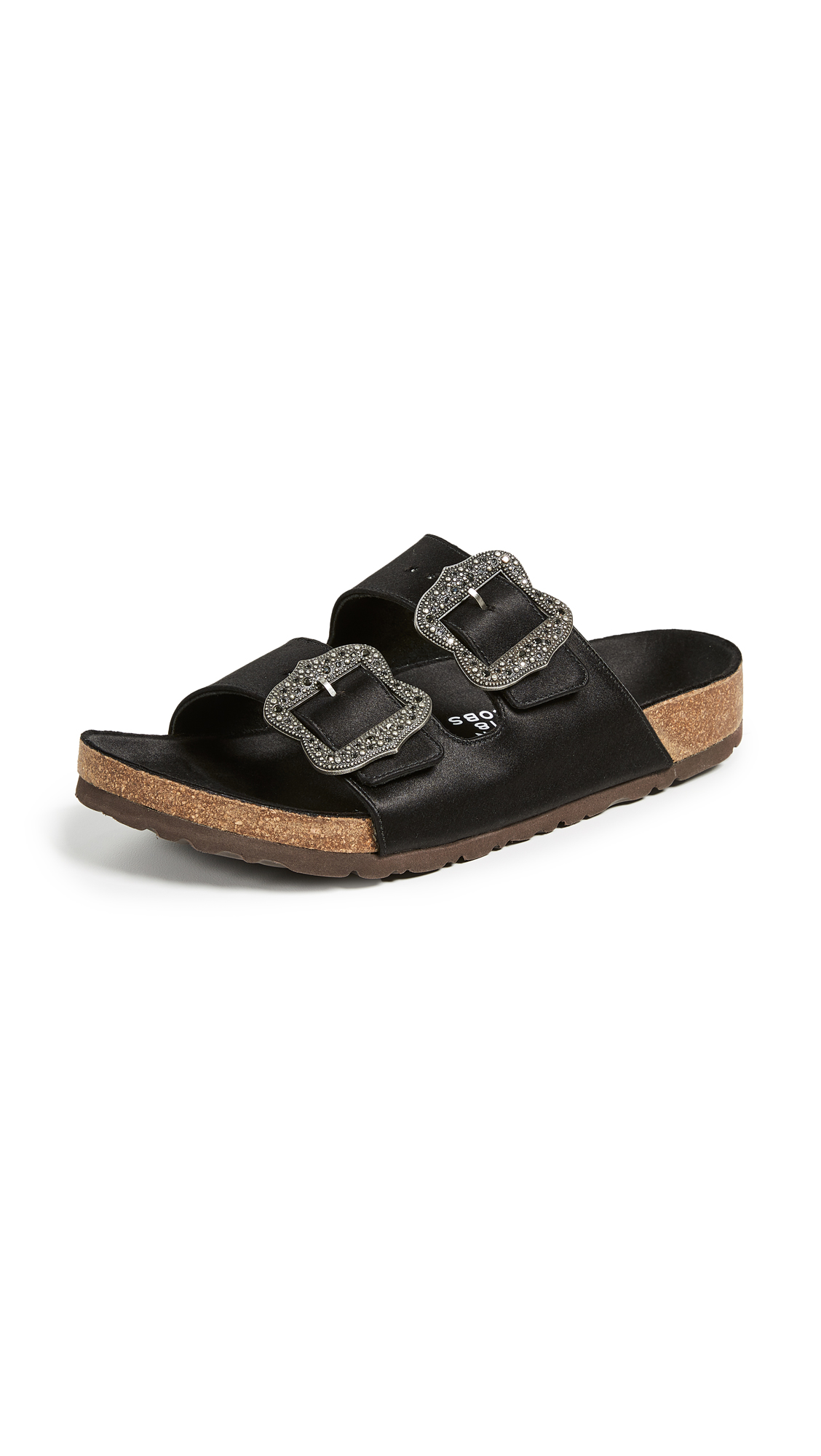 Leather Buckle Slide Sandals - Black Size 6