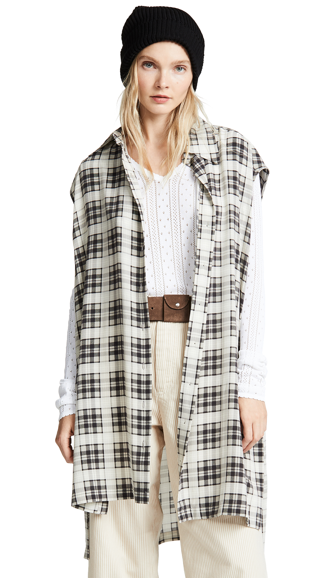 Marc Jacobs Redux Grunge Sleeveless Button Down Top - Ivory Multi