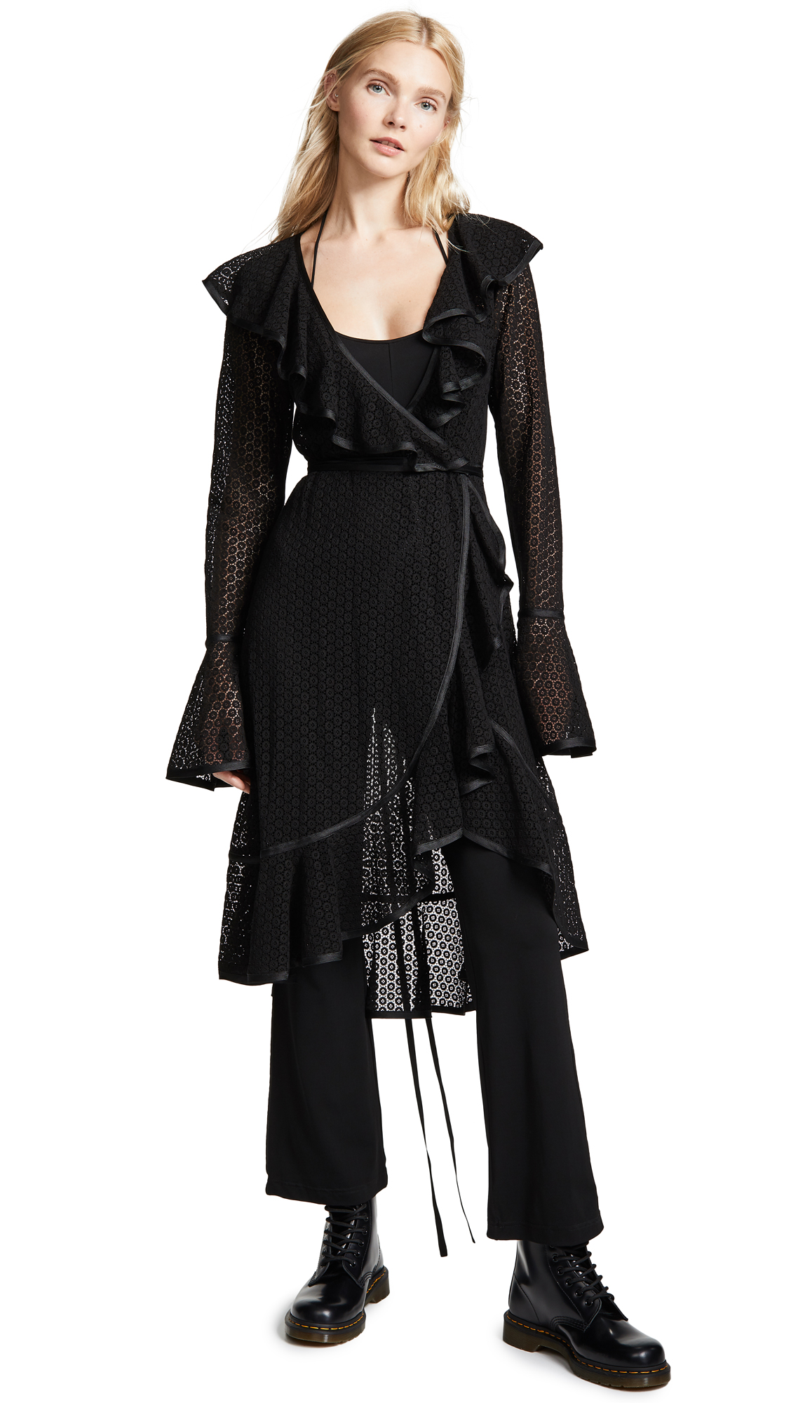 Two-Piece Spot Embroidered Ruffle Dress & Jumpsuit Set in Black