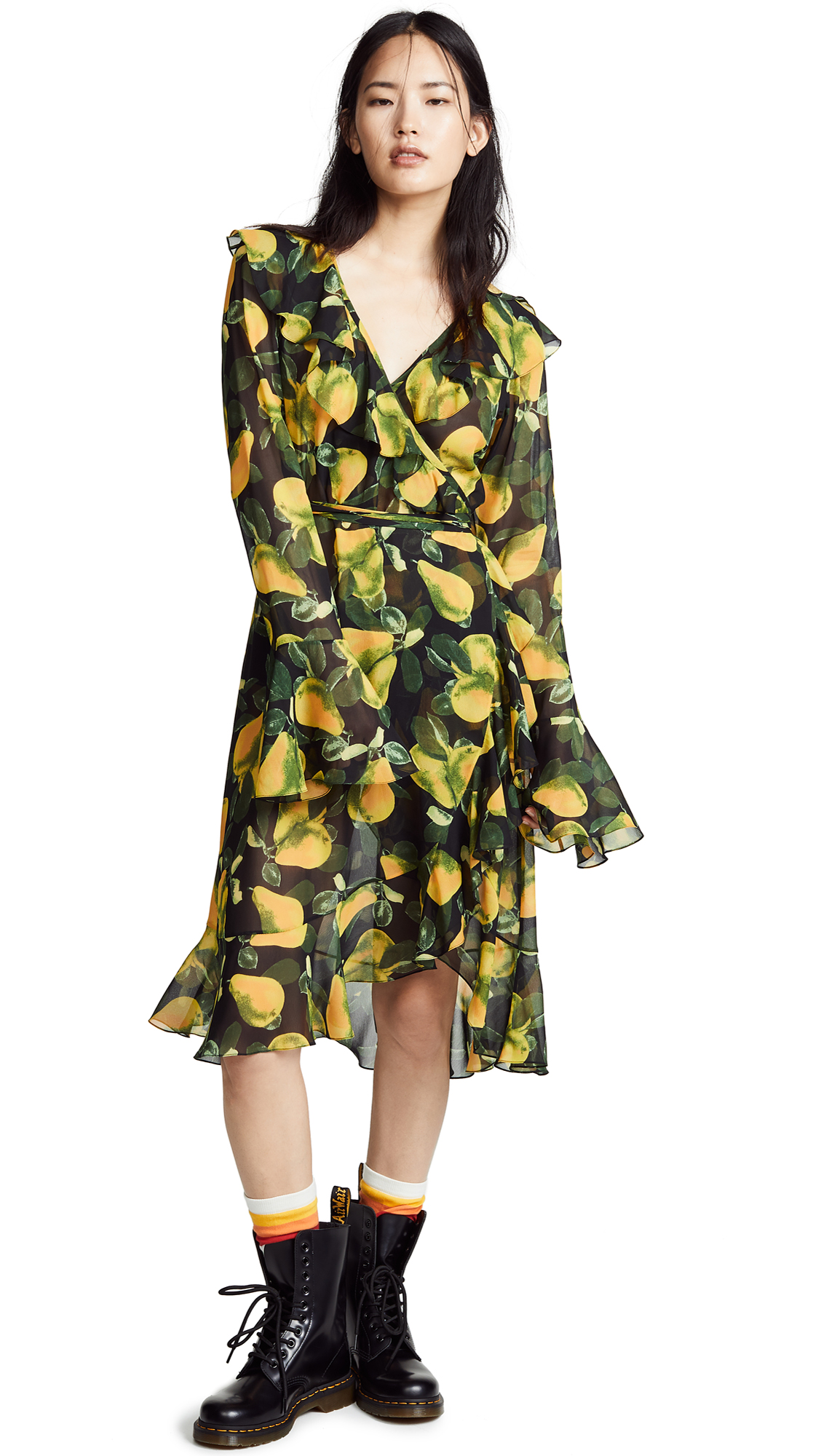 Marc Jacobs Redux Grunge Bell Sleeve Dress - Green Multi