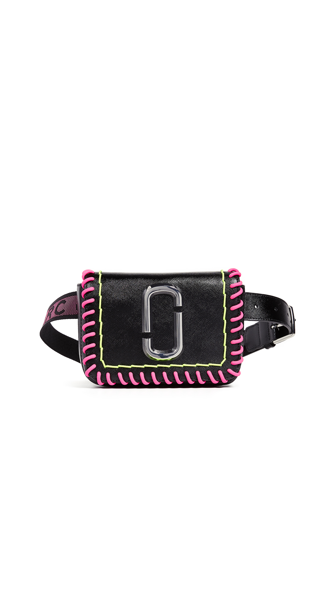 S/M Hip Shot Whipstitch Convertible Belt Bag in Black