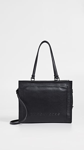 Marc Jacobs The Box Large Leather Shopper Tote In Black