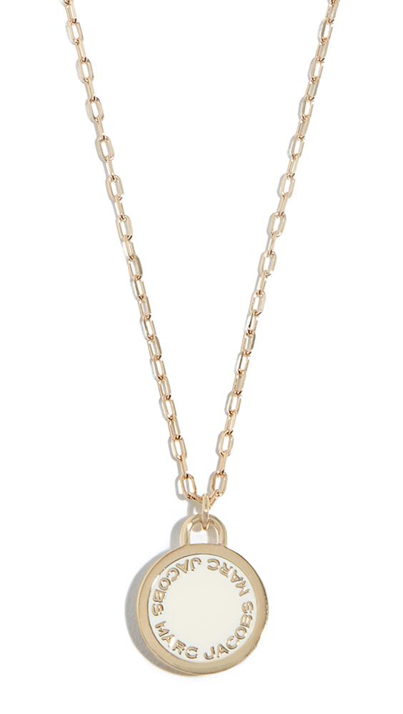 Marc Jacobs Logo Disc Pendant Necklace - Cream
