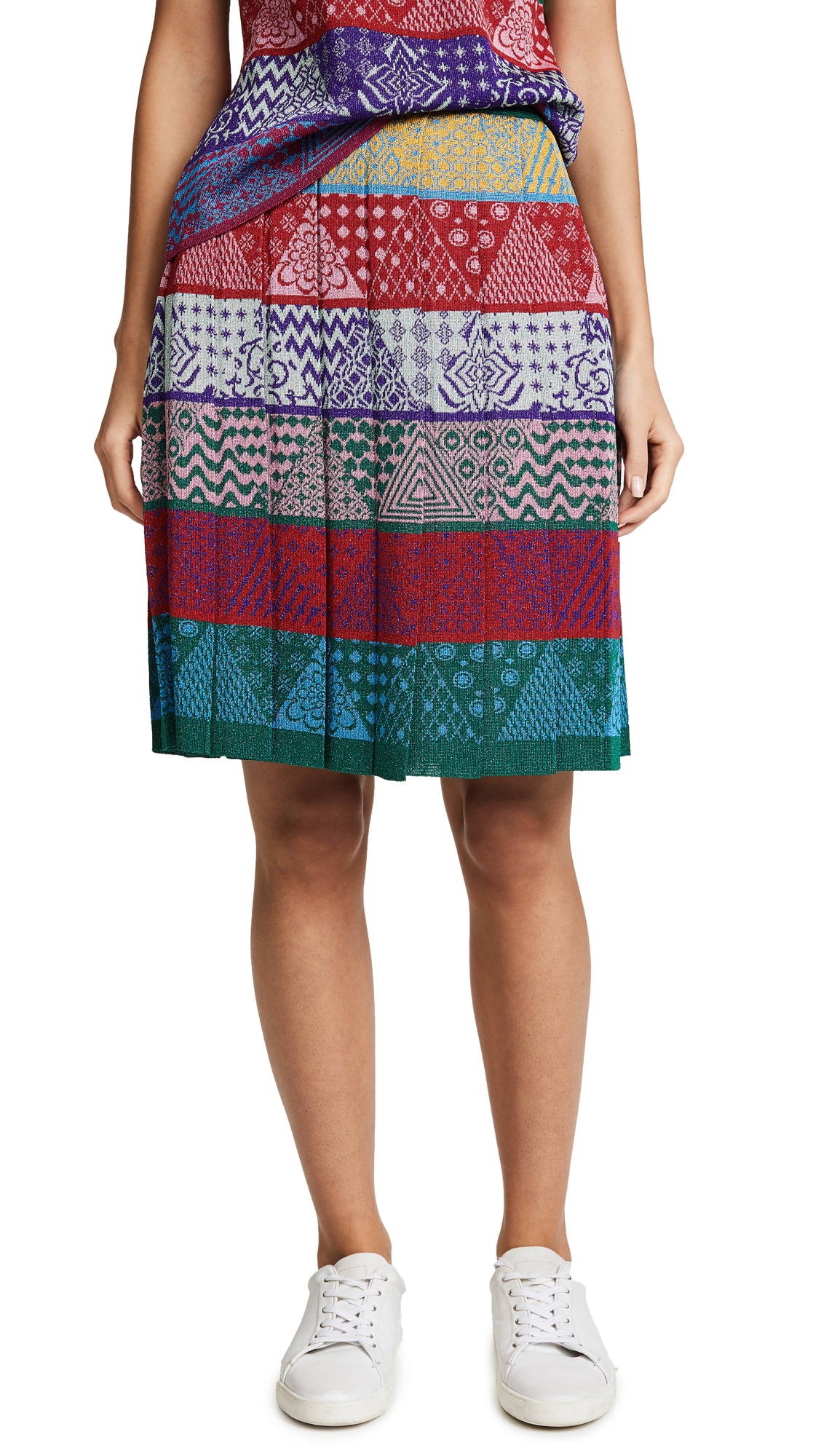 Mary Katrantzou Mandy Knit Sparkle Skirt - Patchwork Stripe