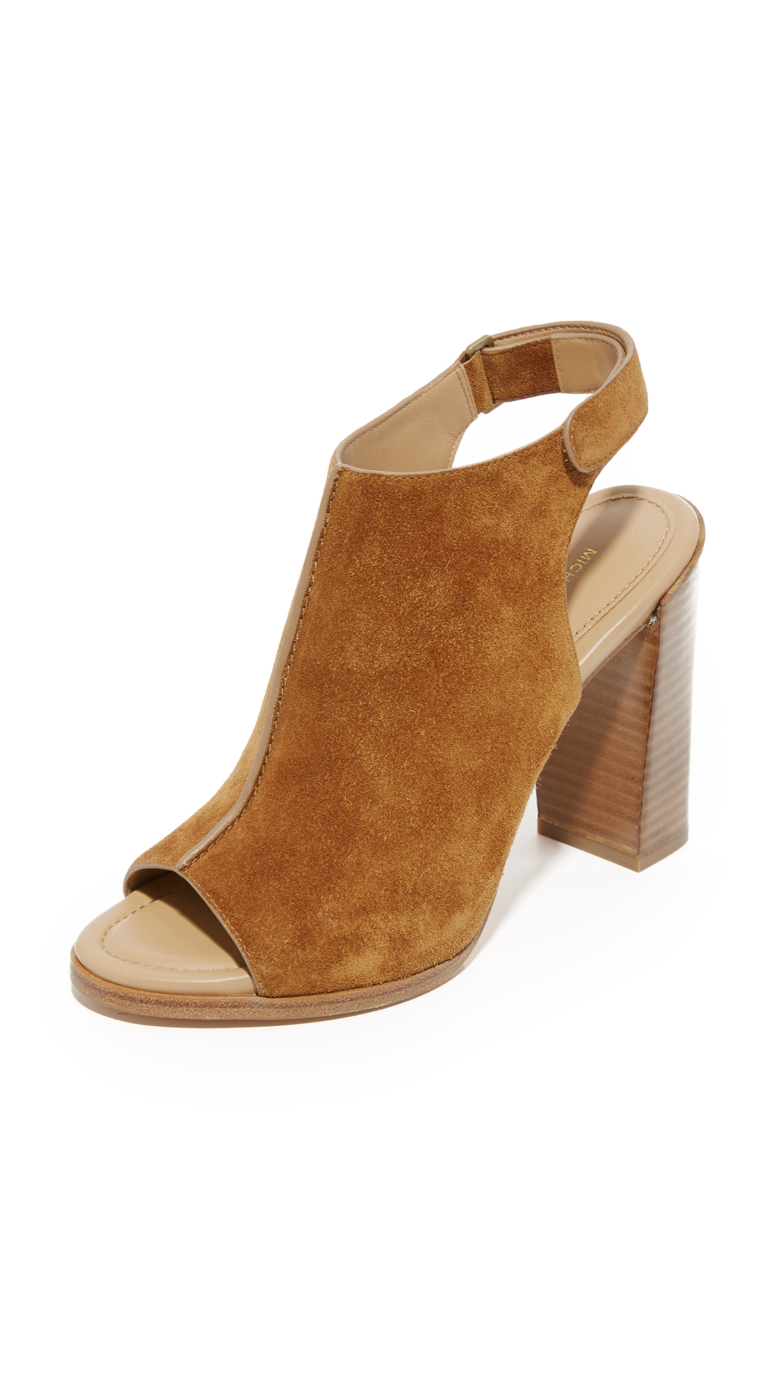 Michael Kors Collection Maeve Open Toe Booties - Luggage