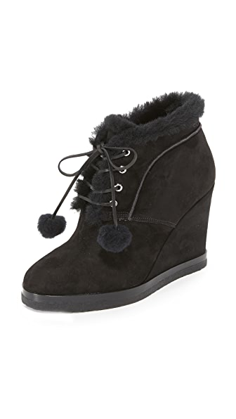 Michael Kors Collection Chadwick Pom Pom Wedge Booties
