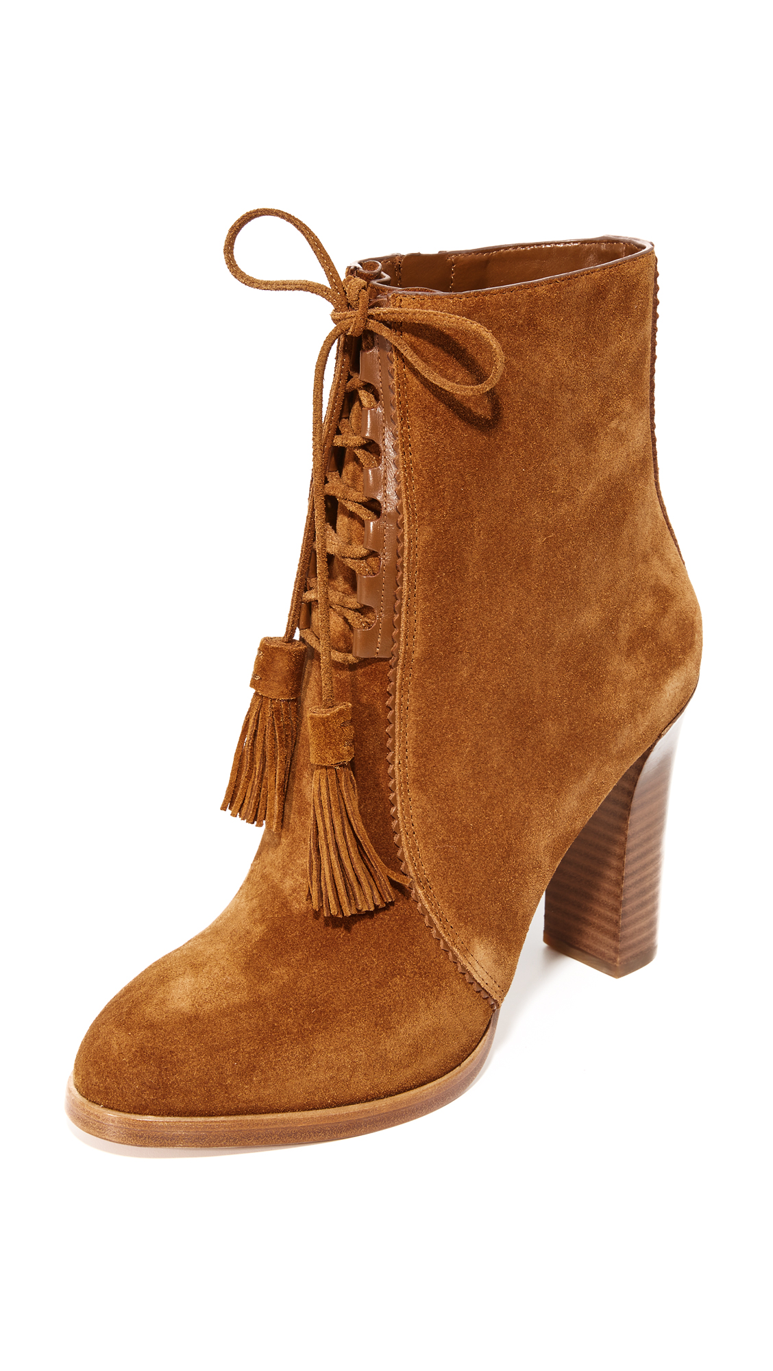 Michael Kors Collection Odile Lace Up Booties - Luggage