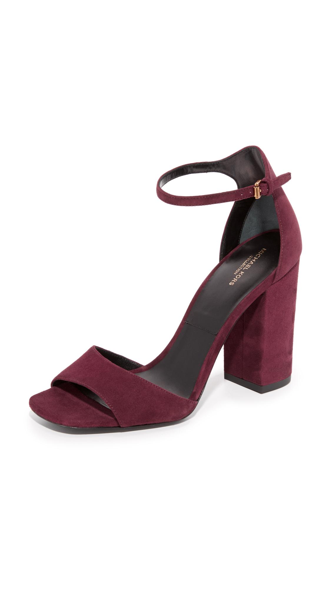 michael kors female 215965 michael kors collection rosa ankle strap sandals burgundy
