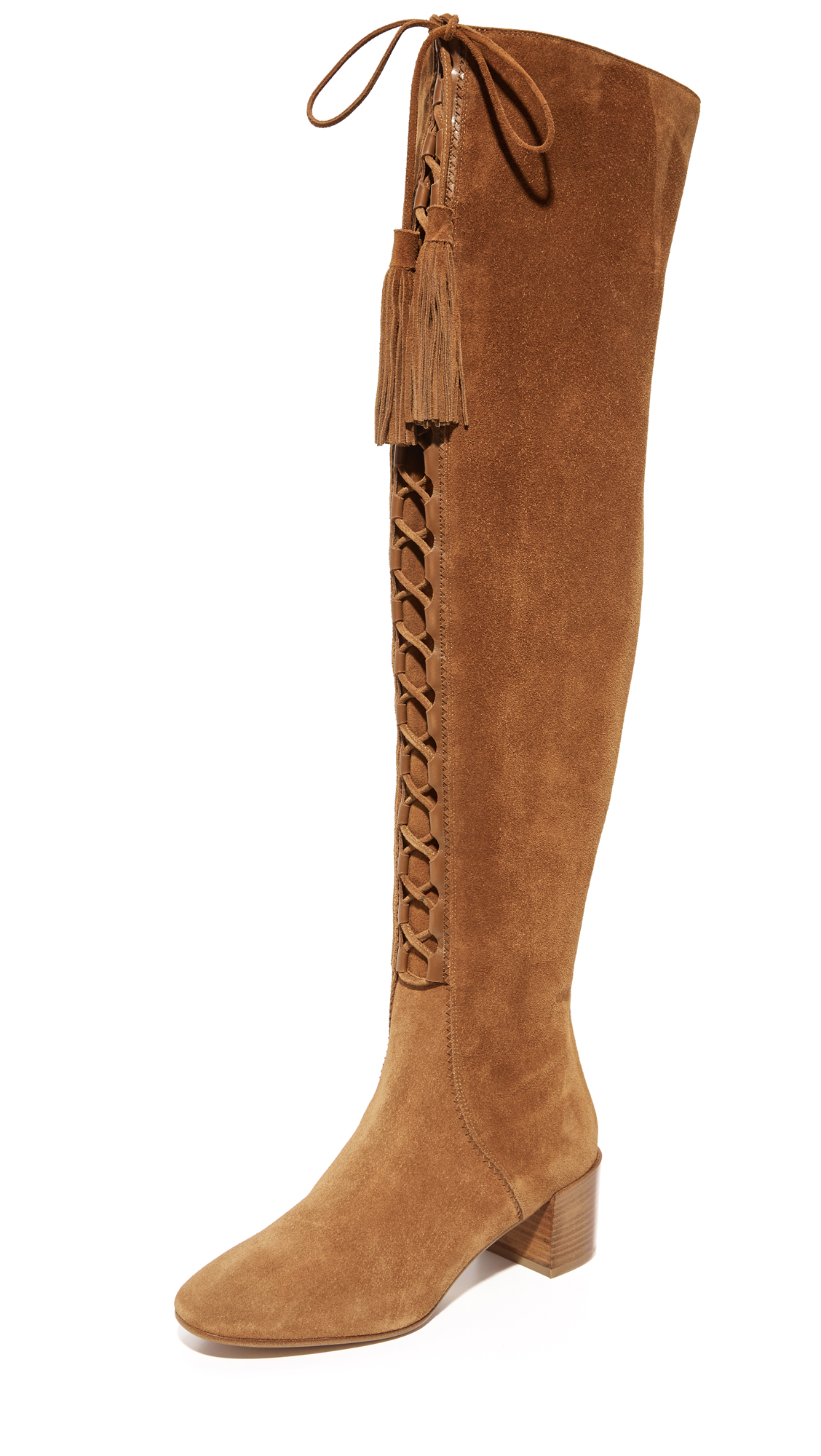 Michael Kors Collection Harris Lace Up Over The Knee Boots - Luggage