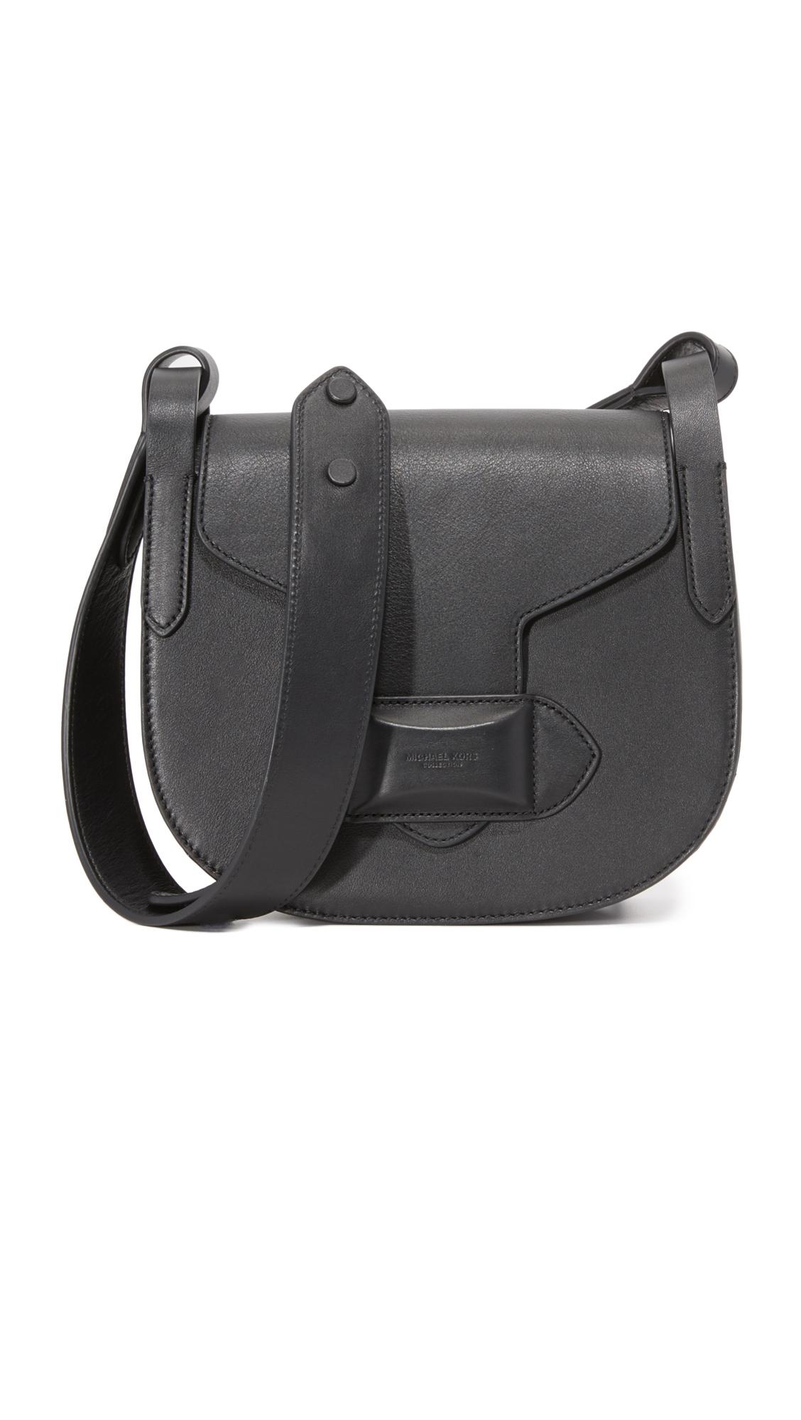 michael kors female 188971 michael kors collection daria small cross body saddle bag black